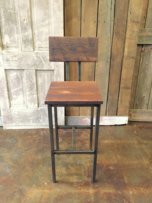 Industrial Reclaimed Wood Bar Stool / Steel Base - Industrial Reclaimed Wood Bar Stool / Steel Base - WHAT WE MAKE