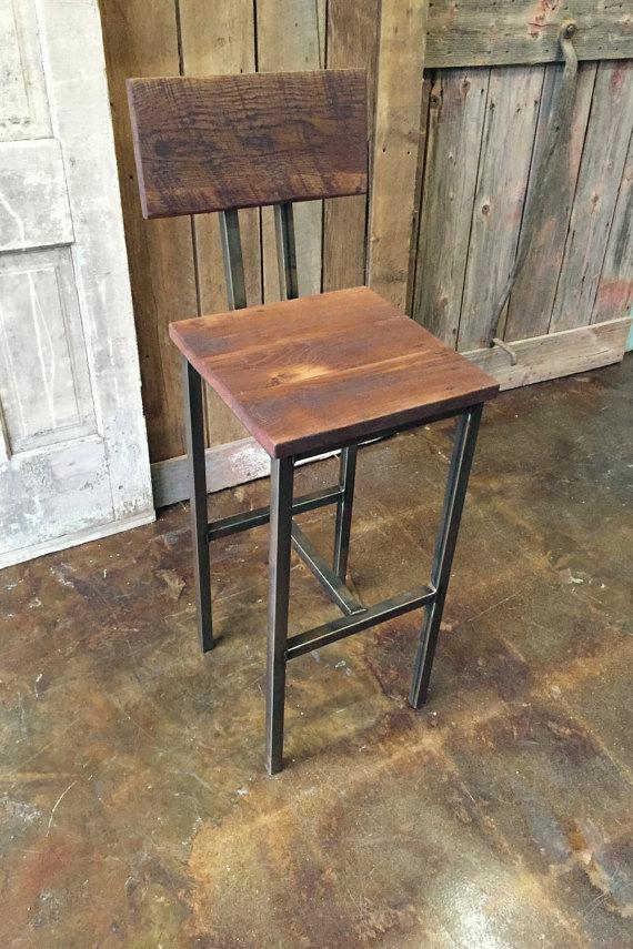Industrial Reclaimed Wood Bar Stool  Steel Base - WHAT WE MAKE
