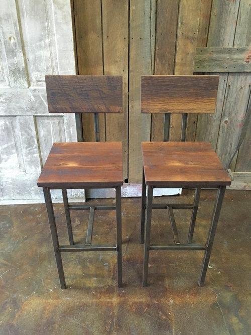 Industrial Reclaimed Wood Bar Stools / Steel Base / Set of Two - Industrial Reclaimed Wood Bar Stools / Steel Base / Set Of Two