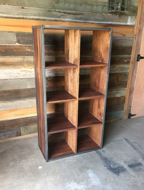 reclaimed wood double cube bookcase bookshelf bookshelves - Reclaimed Wood Bookshelves