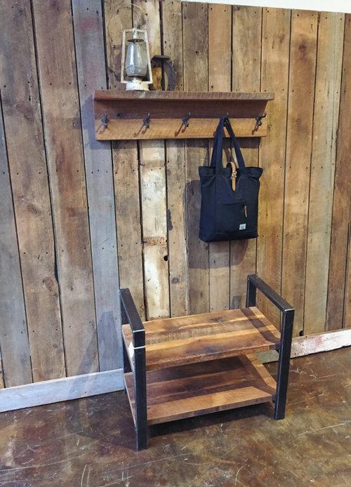 Rustic Reclaimed Barn Wood Coat Rack with Shelf / Barn Wood Coat Hanger - Rustic Reclaimed Barn Wood Coat Rack With Shelf / Barn Wood Coat