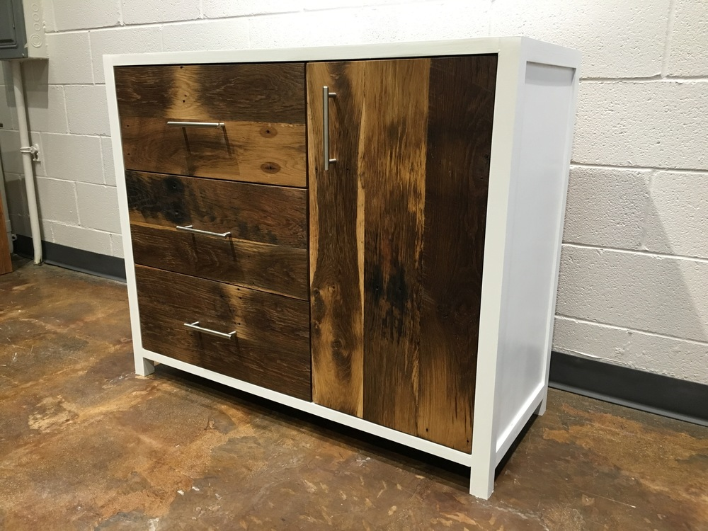 Bon White + Reclaimed Wood Buffet Cabinet