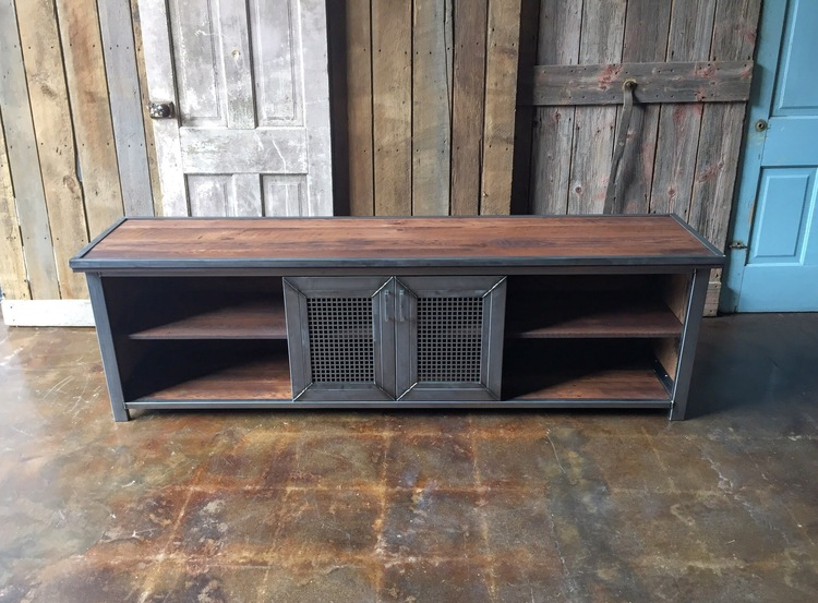 industrial media furniture tool chest industrial reclaimed wood steel media console what we make