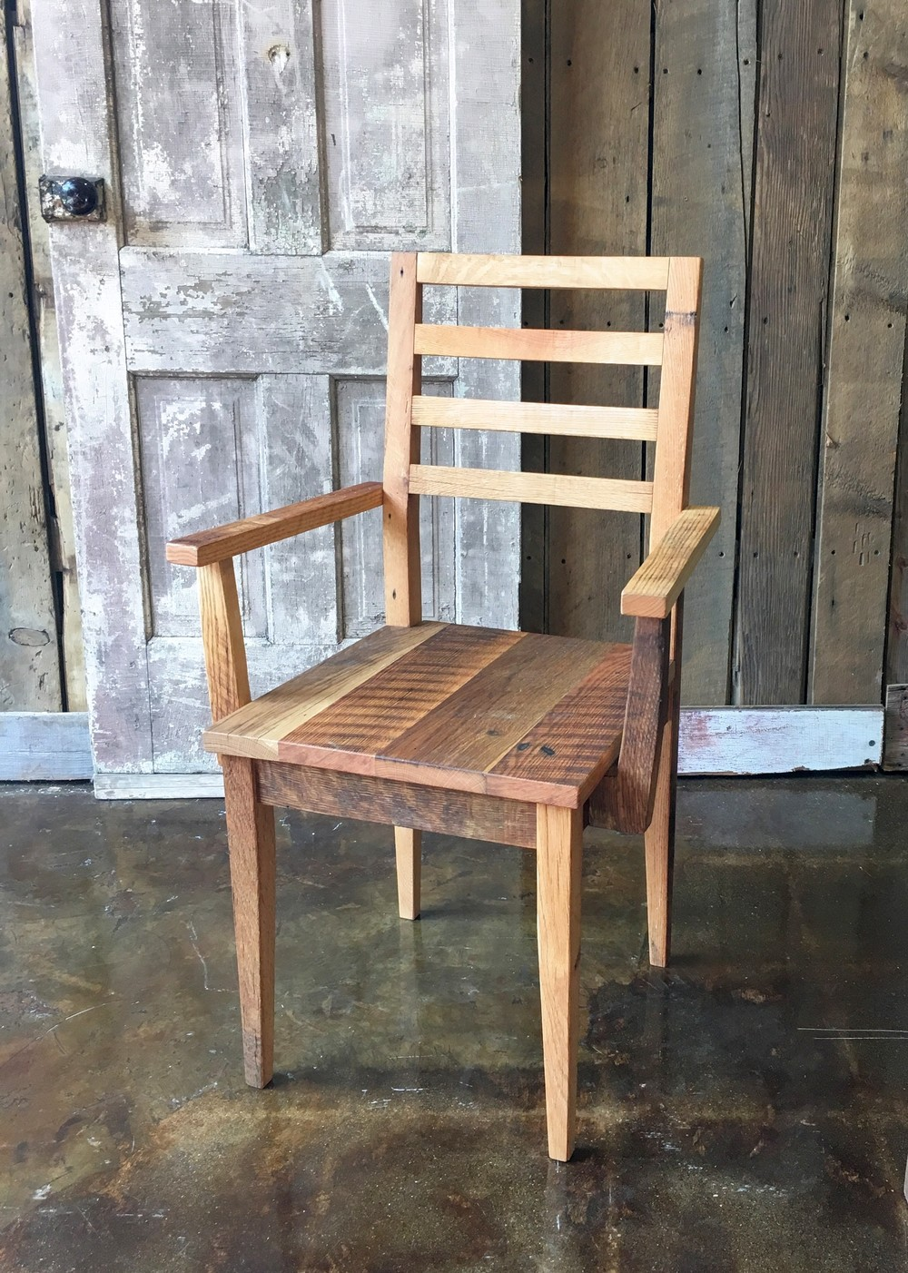 Farmhouse Dining Chair Made From Reclaimed Wood With Arm Rests