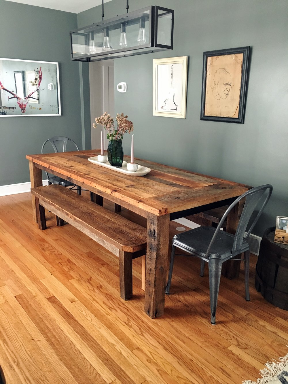 Reclaimed Wood Farmhouse Dining Table / Textured Finish