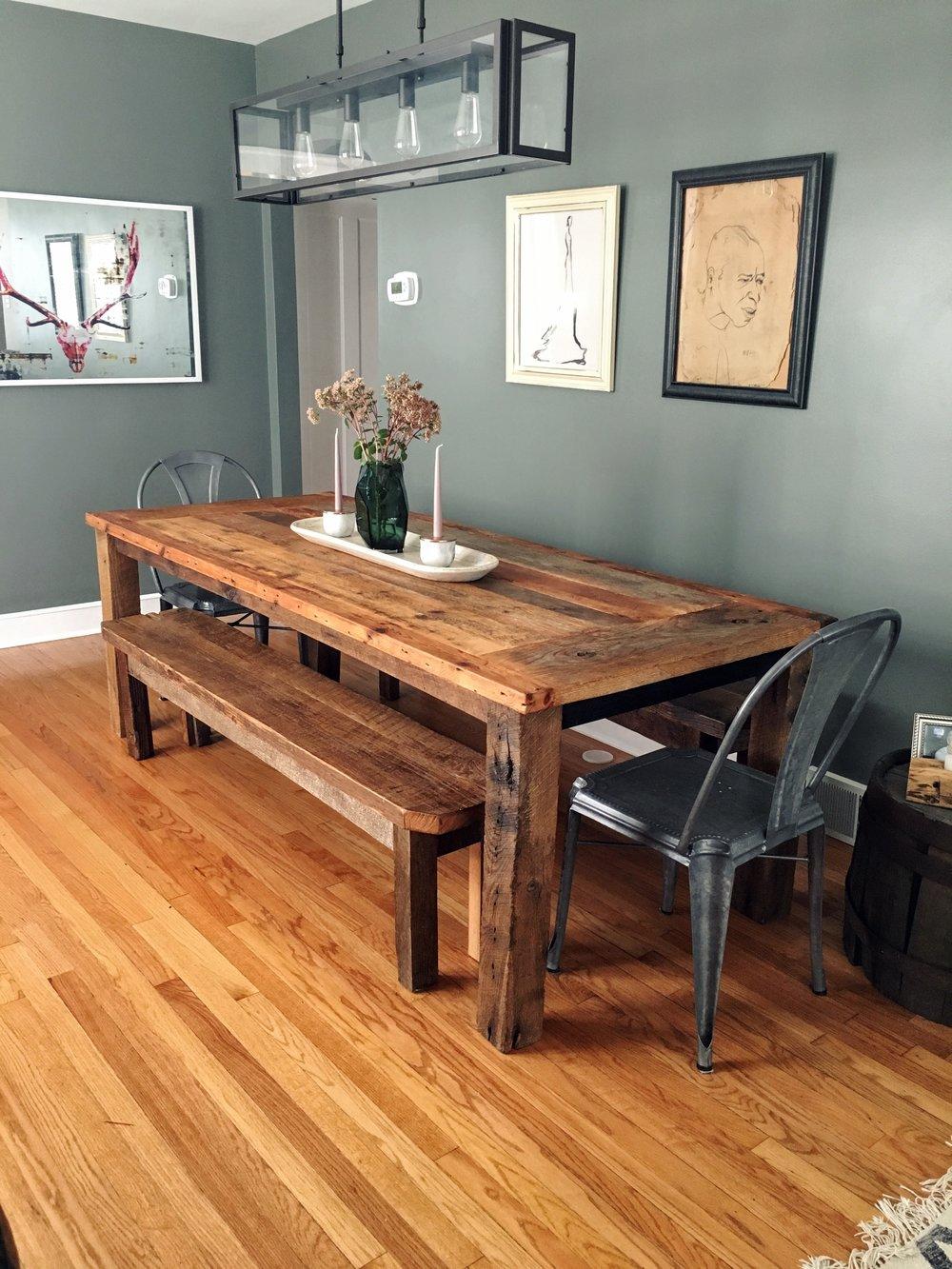Reclaimed Wood Farmhouse Dining Table / Textured Finish