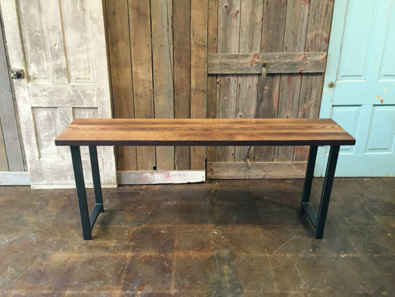 industrial reclaimed wood console table