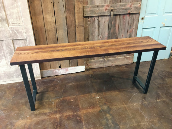 Foyer Table Legs : Industrial reclaimed wood console table h shape metal