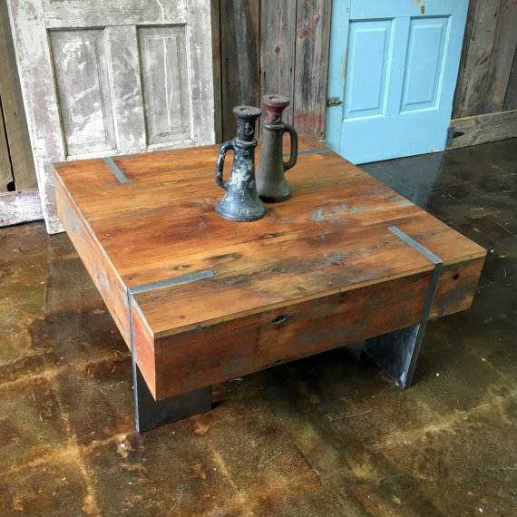 Reclaimed Polished Wood Coffee Table: Square Modern Reclaimed Wood Coffee Table / IN STOCK