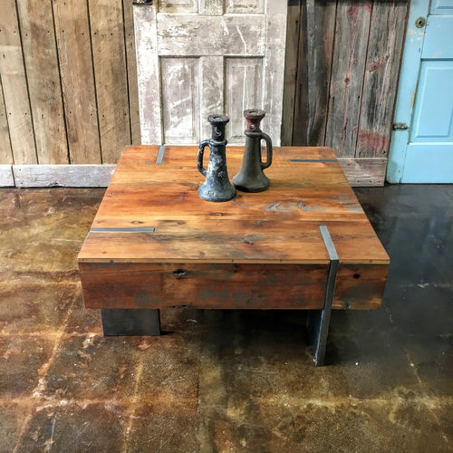 Square Modern Reclaimed Wood Coffee Table In Stock