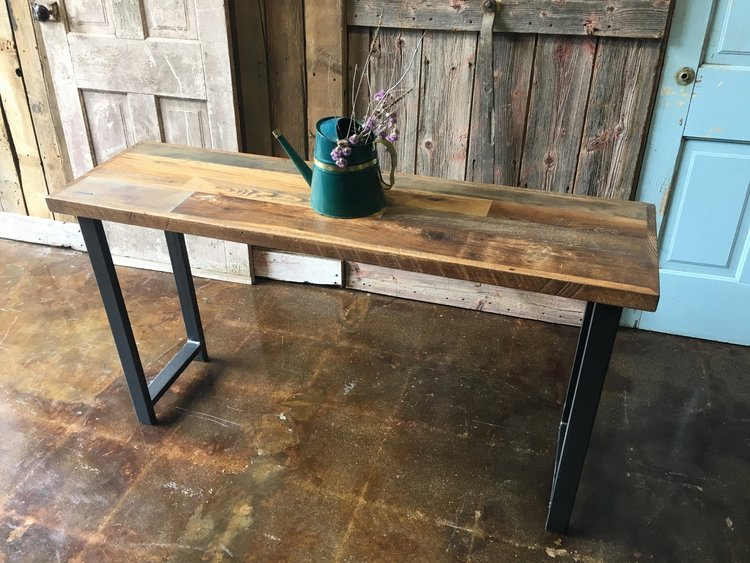 Reclaimed Wood Patchwork Console Table   H Shaped Metal Legs. Reclaimed Wood Tables   Barn Wood Tables   WHAT WE MAKE