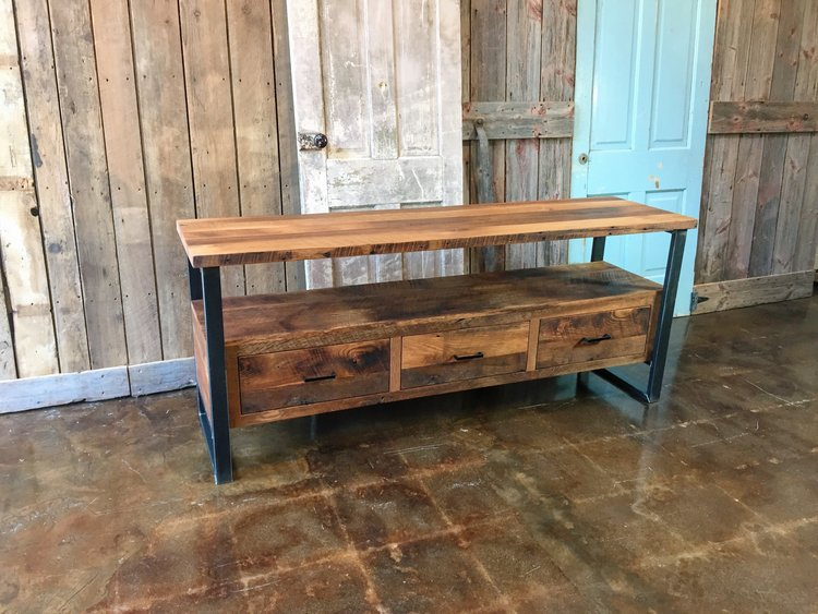 Reclaimed Wood Media Console / 3-Drawer - Reclaimed Wood Media Console / 3-Drawer - WHAT WE MAKE