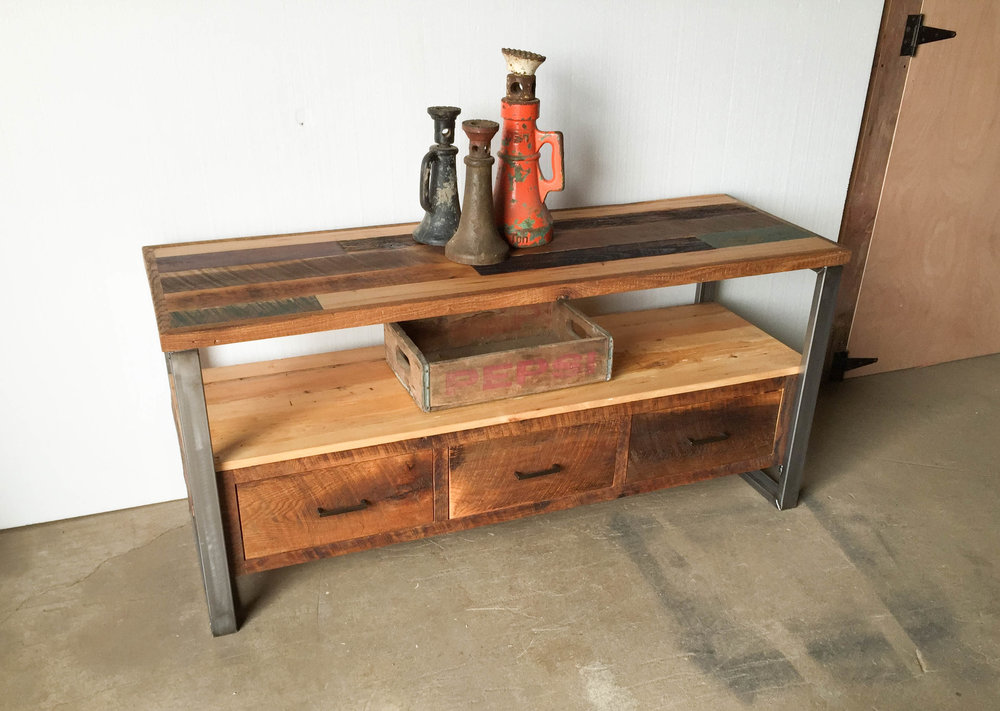 reclaimed wood patchwork media console - Reclaimed Wood Media Console