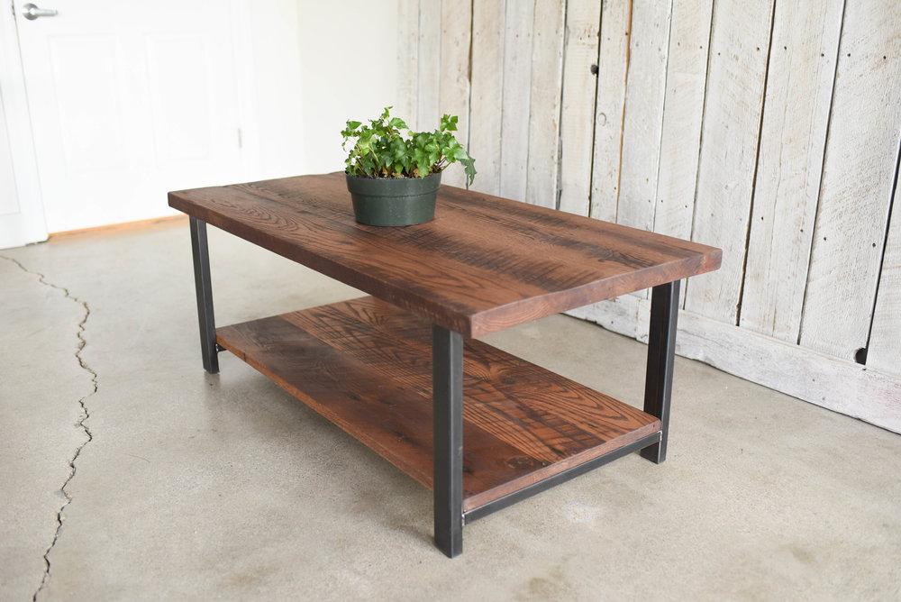 Industrial Reclaimed Wood Coffee Table / Lower Shelf / Walnut Finish