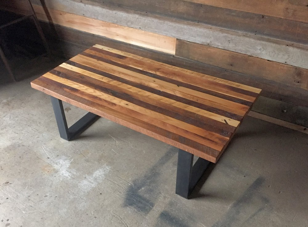 Reclaimed wood butcher block coffee table what we make for Reclaimed wood table designs