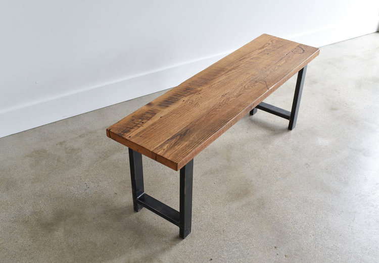 Well-liked Industrial Modern Reclaimed Wood Bench / H-Shaped Metal Legs  ZO32