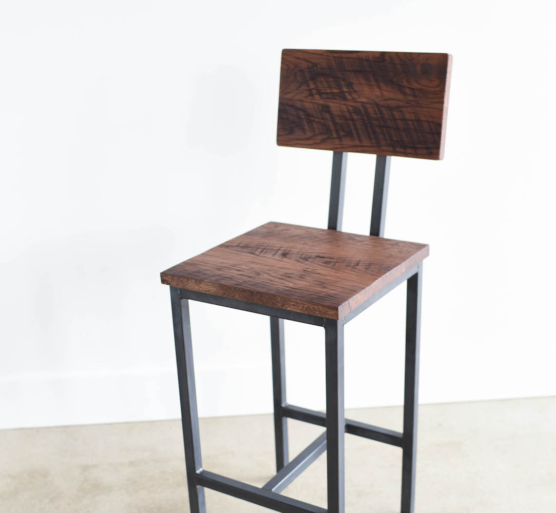 Prime Reclaimed Wood Stool With Industrial Steel Base Walnut Finish What We Make Gmtry Best Dining Table And Chair Ideas Images Gmtryco