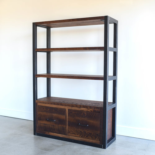 industrial reclaimed wood bookshelf steel frame - Reclaimed Wood Bookshelves
