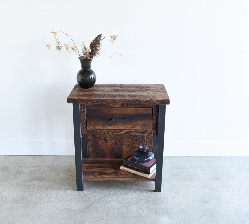 Reclaimed Wood Industrial Storage Nightstand