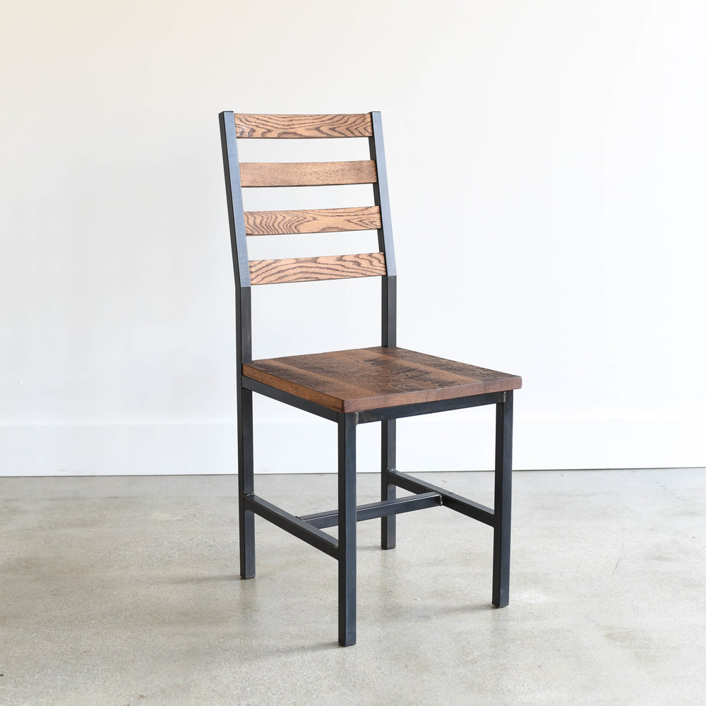 Industrial Steel + Reclaimed Wood Dining Chair