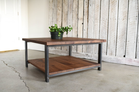 Square Reclaimed Wood Coffee Table Lower Shelf