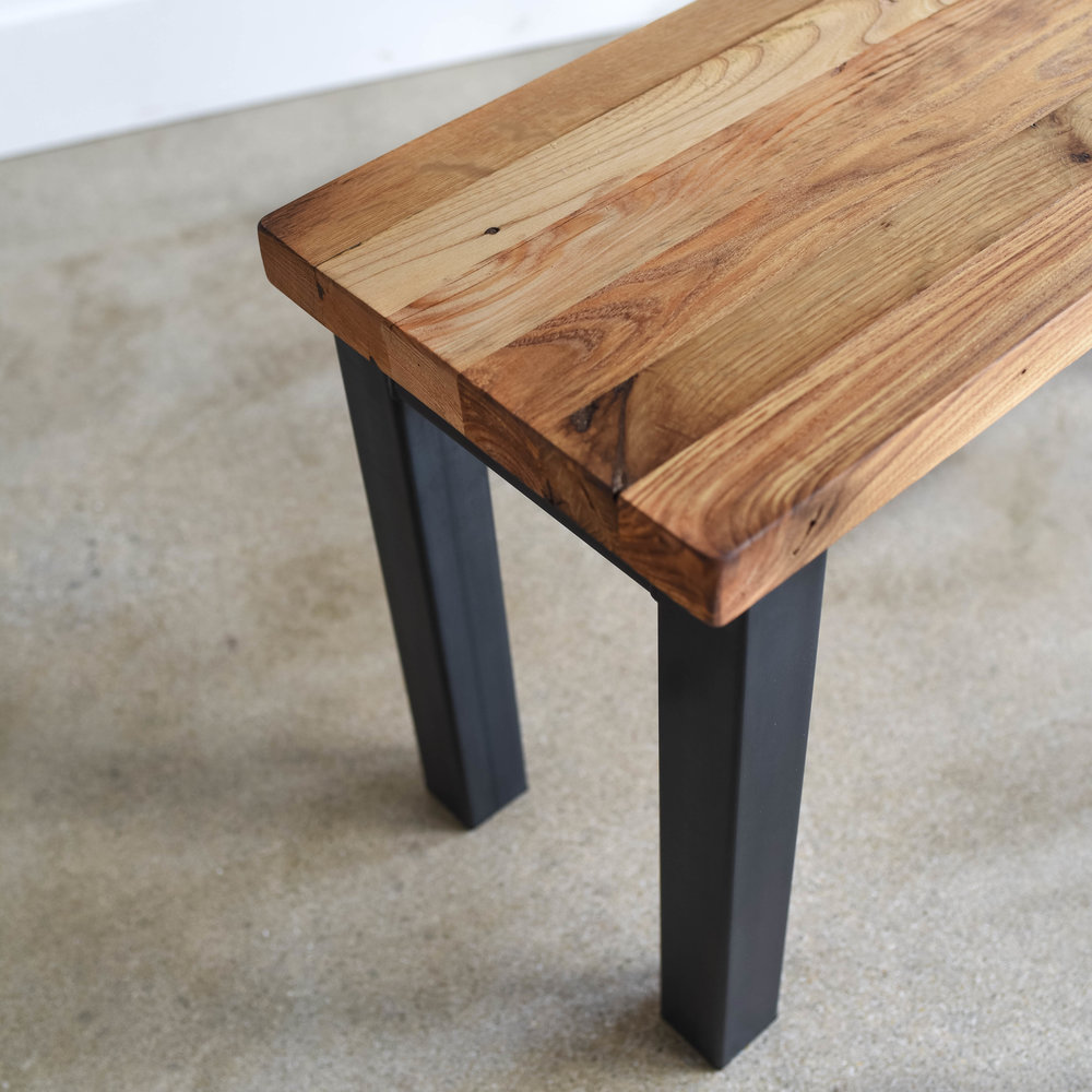 Butcher Block Reclaimed Wood Bench. Butcher Blk Bnch Dtl