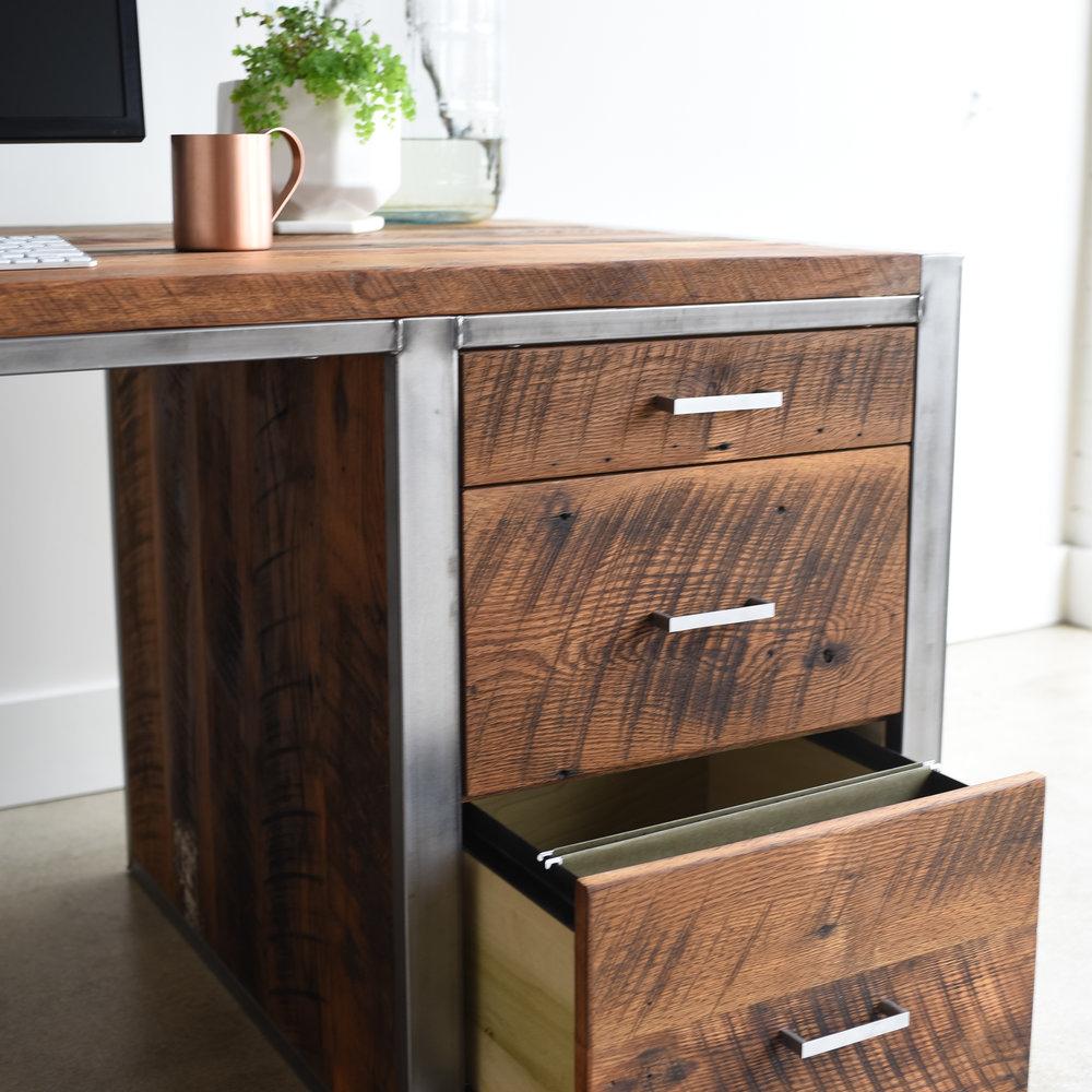 Industrial Modern Desk / 3 Drawer + 1 Door