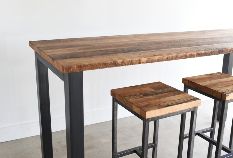 Pub Height Reclaimed Wood Kitchen Table / Steel Post Legs - WHAT ...