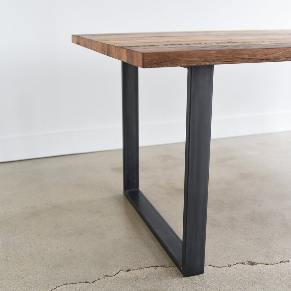 Industrial Modern Dining Table U Shaped Metal Legs