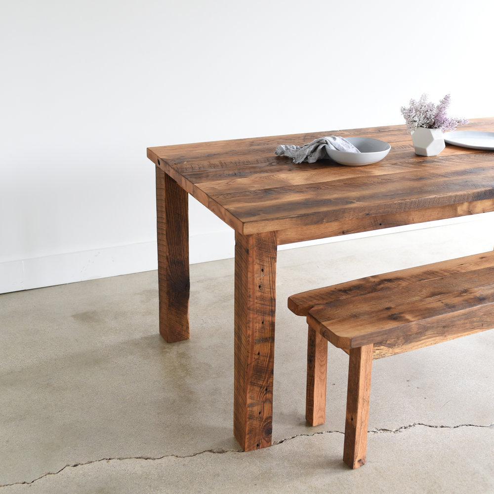 Reclaimed Wood Plank Dining Table  Farmhouse Table - WHAT WE MAKE