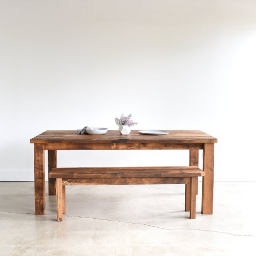 Reclaimed Wood Plank Dining Table Farmhouse Table And Bench What