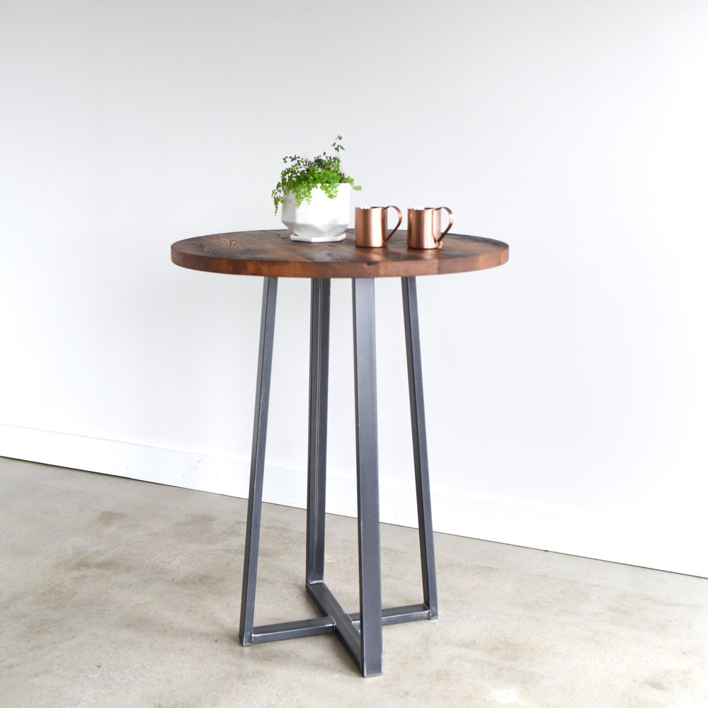 """Bithlo Reclaimed Wood Top Round Industrial Coffee Table: Round Industrial Reclaimed Wood Pub Table / 42"""" Bar Height"""