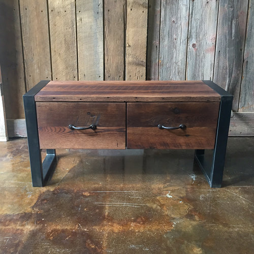 Industrial Reclaimed Wood Storage Bench - Industrial Reclaimed Wood Storage Bench - WHAT WE MAKE