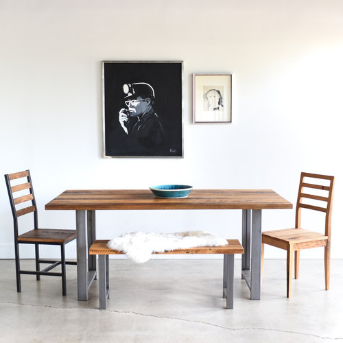 Industrial Modern Dining Table H Shaped Metal Legs What We Make
