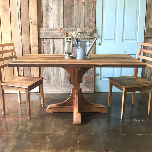 Farmhouse Barnwood Dining Table Pedestal Base What We Make