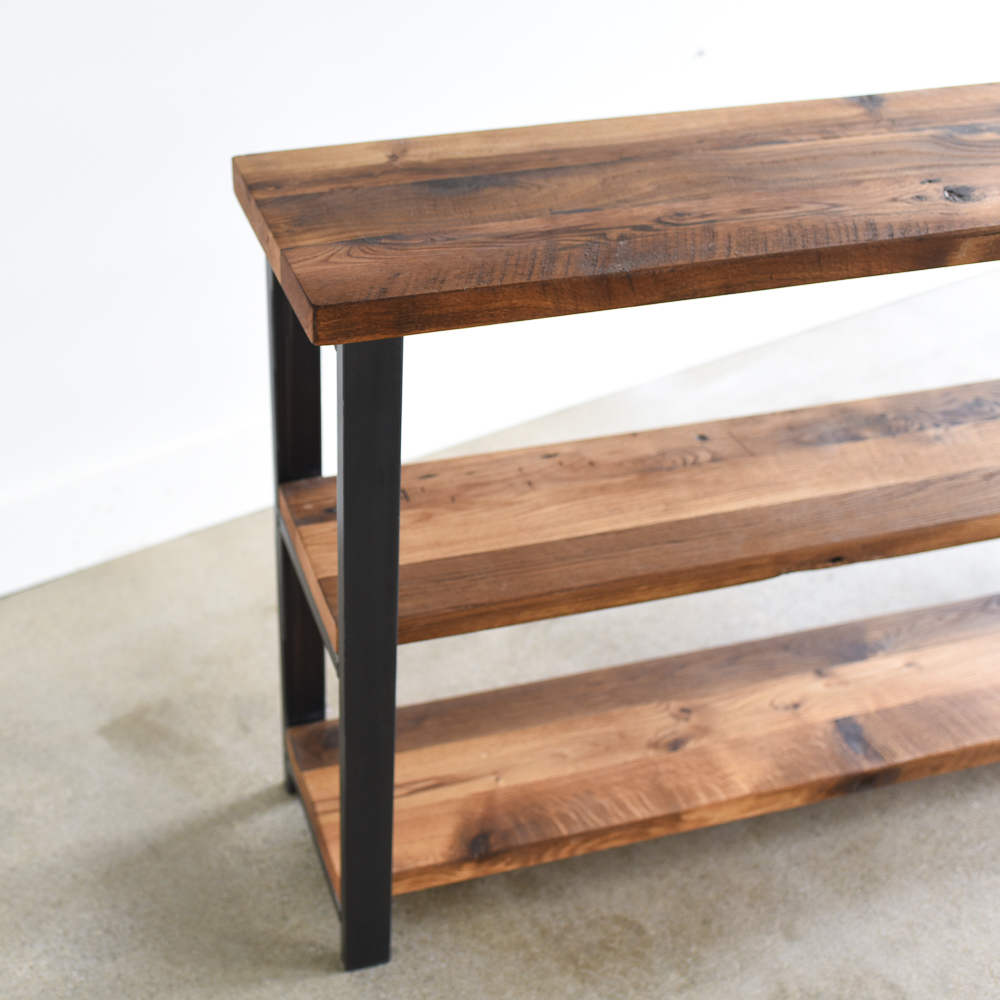 Exceptionnel Long Industrial Reclaimed Wood Shelving Unit