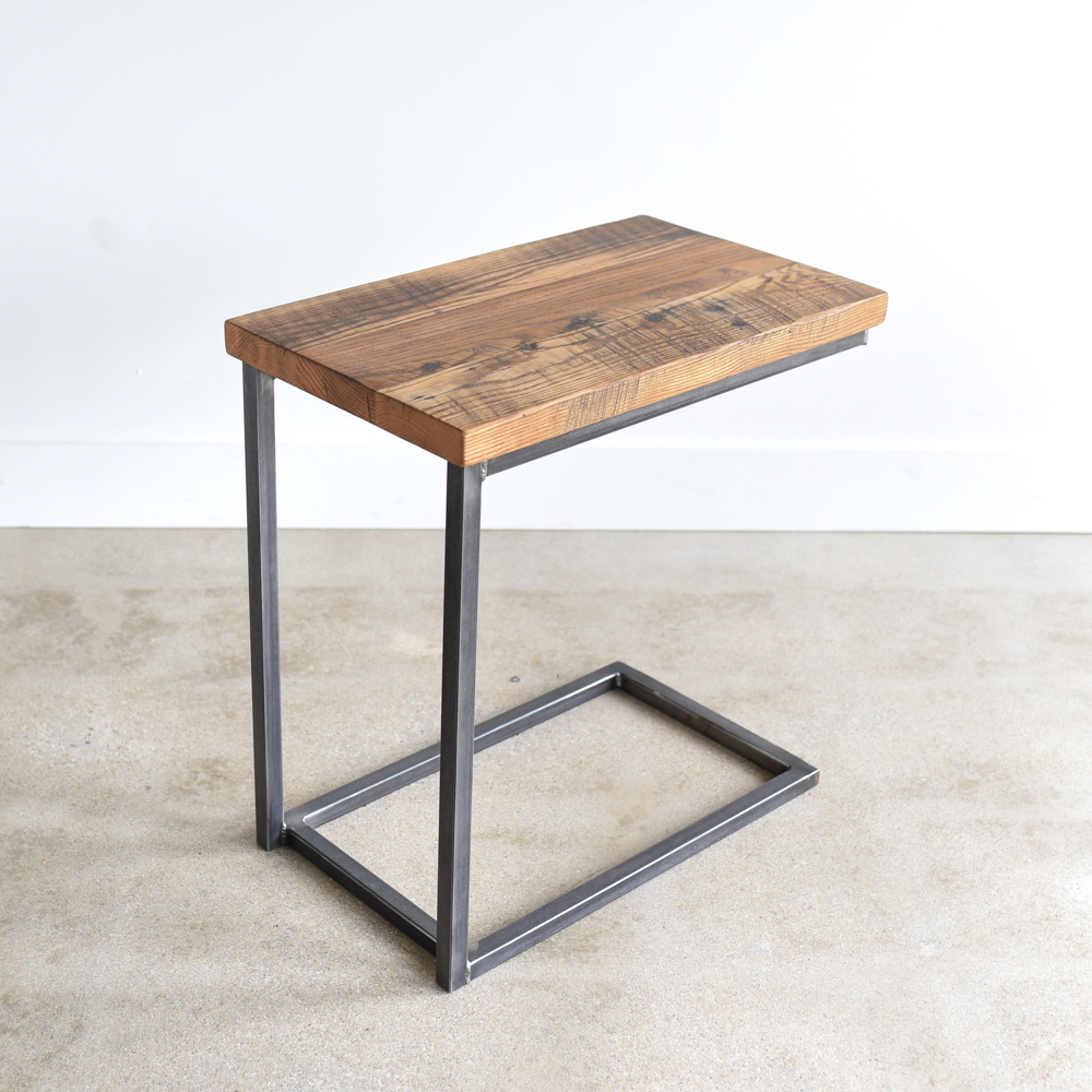 Superbe Reclaimed Wood C Base Side Table