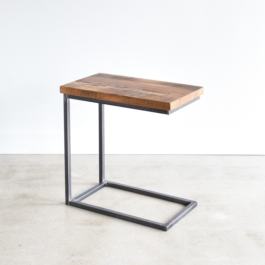 Reclaimed Wood C Base Side Table
