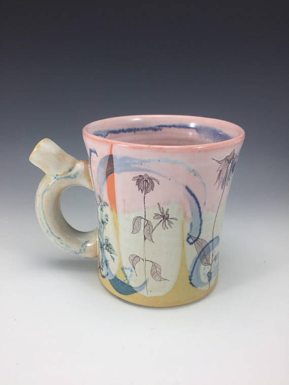 8. HAND DRAWN CONE FLOWER MUG