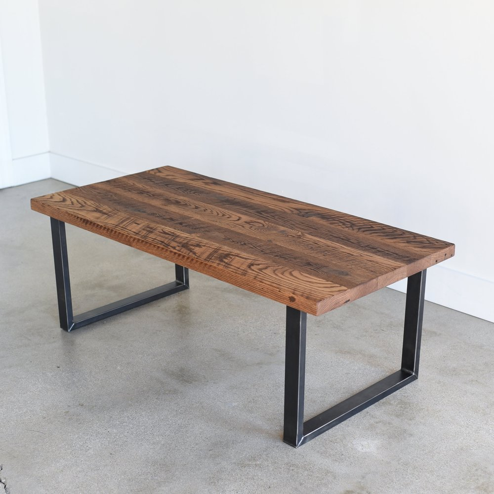 Reclaimed Wood Coffee Table / Industrial U Shaped Steel Legs