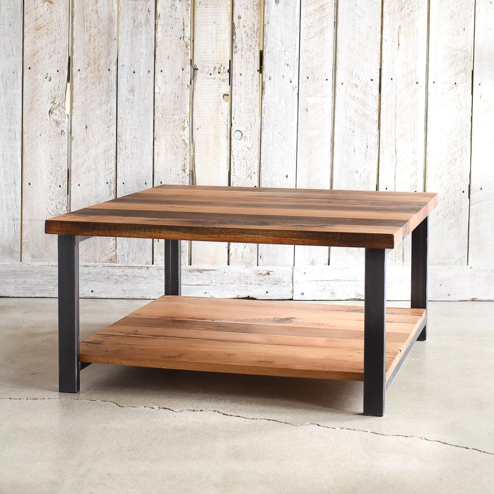 Marvelous Square Reclaimed Oak Coffee Table / Lower Shelf