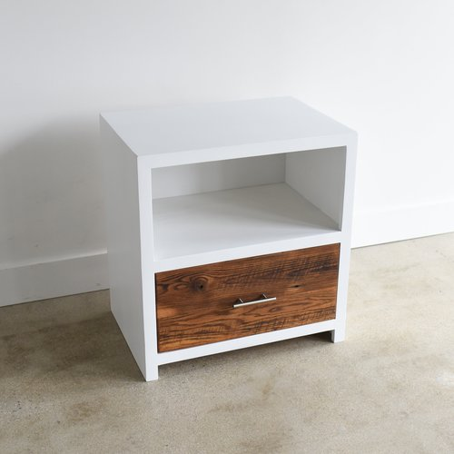 reclaimed wood nightstand. White + Reclaimed Wood Nightstand With Drawer V