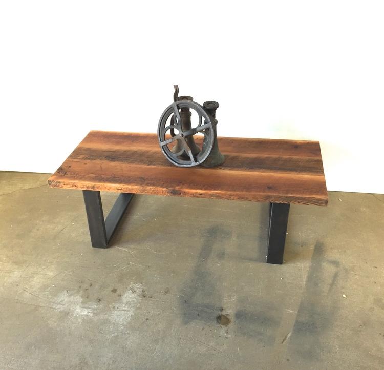 Reclaimed Plank Pine Coffee Table / U-Shaped Metal Legs  sc 1 st  What We Make & Reclaimed Wood Tables - Barn Wood Tables \u2014 WHAT WE MAKE