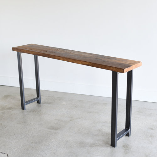 Reclaimed wood console table with h shaped metal legs 12 depth reclaimed wood console table with h shaped metal legs 12 depth watchthetrailerfo