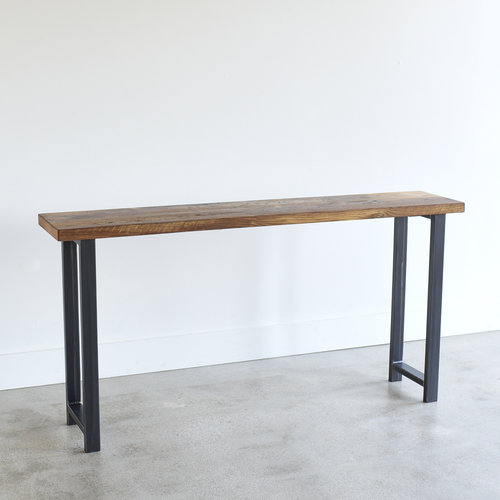Reclaimed Wood Console Table With H Shaped Metal Legs 12 Depth