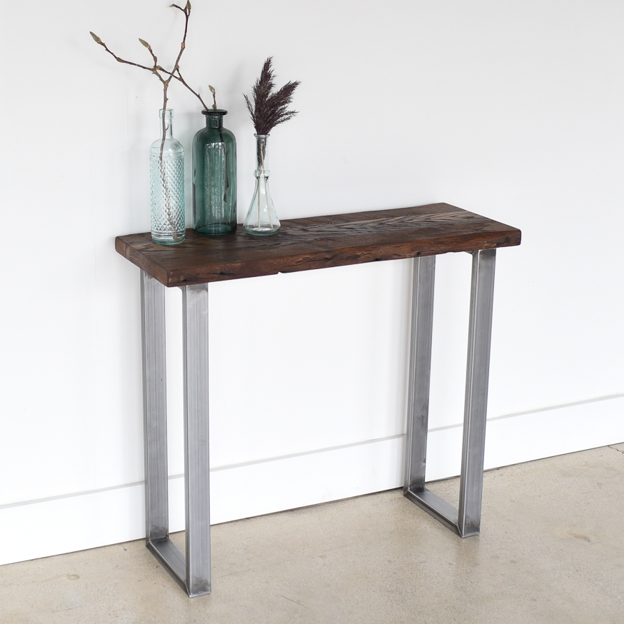 Live Edge Reclaimed Console Table   IN STOCK