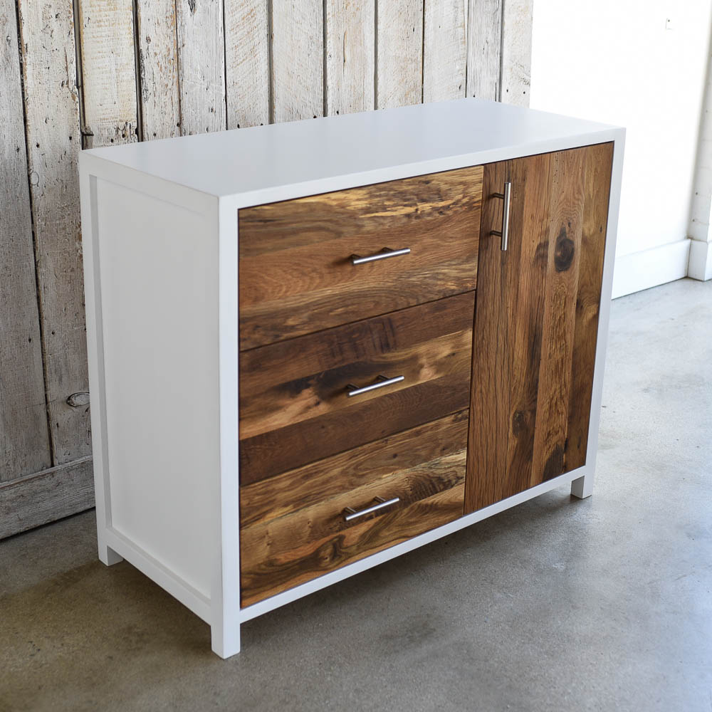White + Reclaimed Wood Nursery Dresser