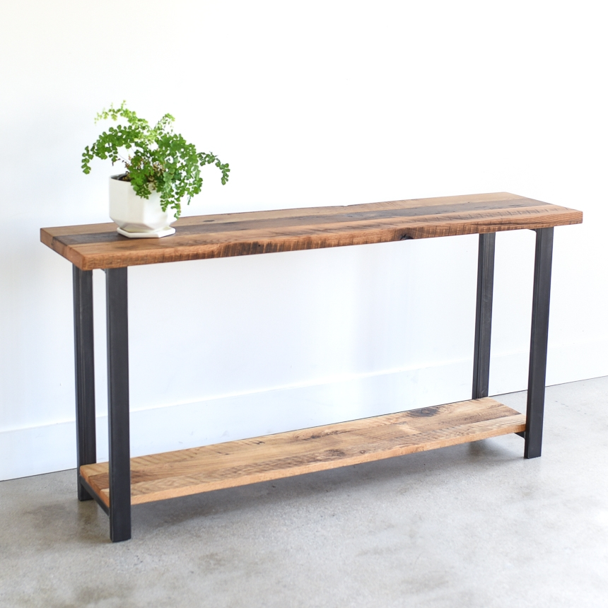 Charmant Reclaimed Wood Console Table With Lower Shelf