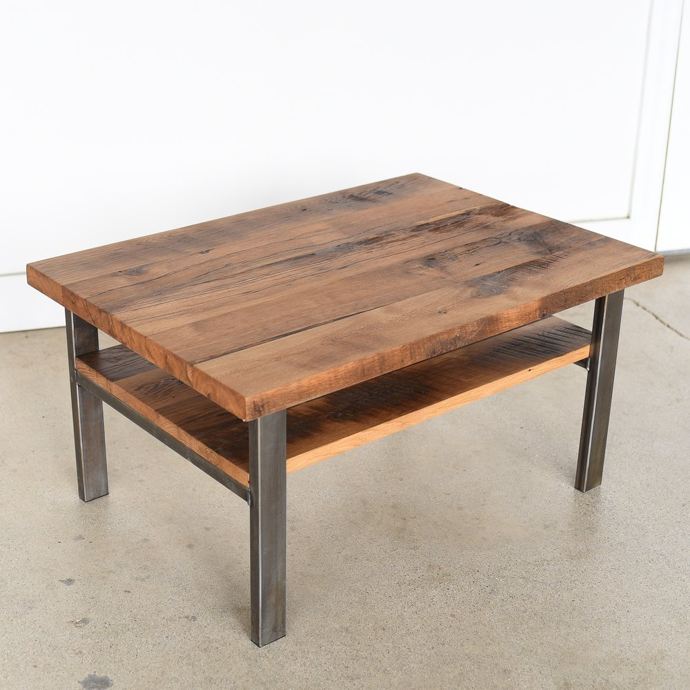 Reclaimed wood timber coffee table high shelf what we make - How high is a coffee table ...