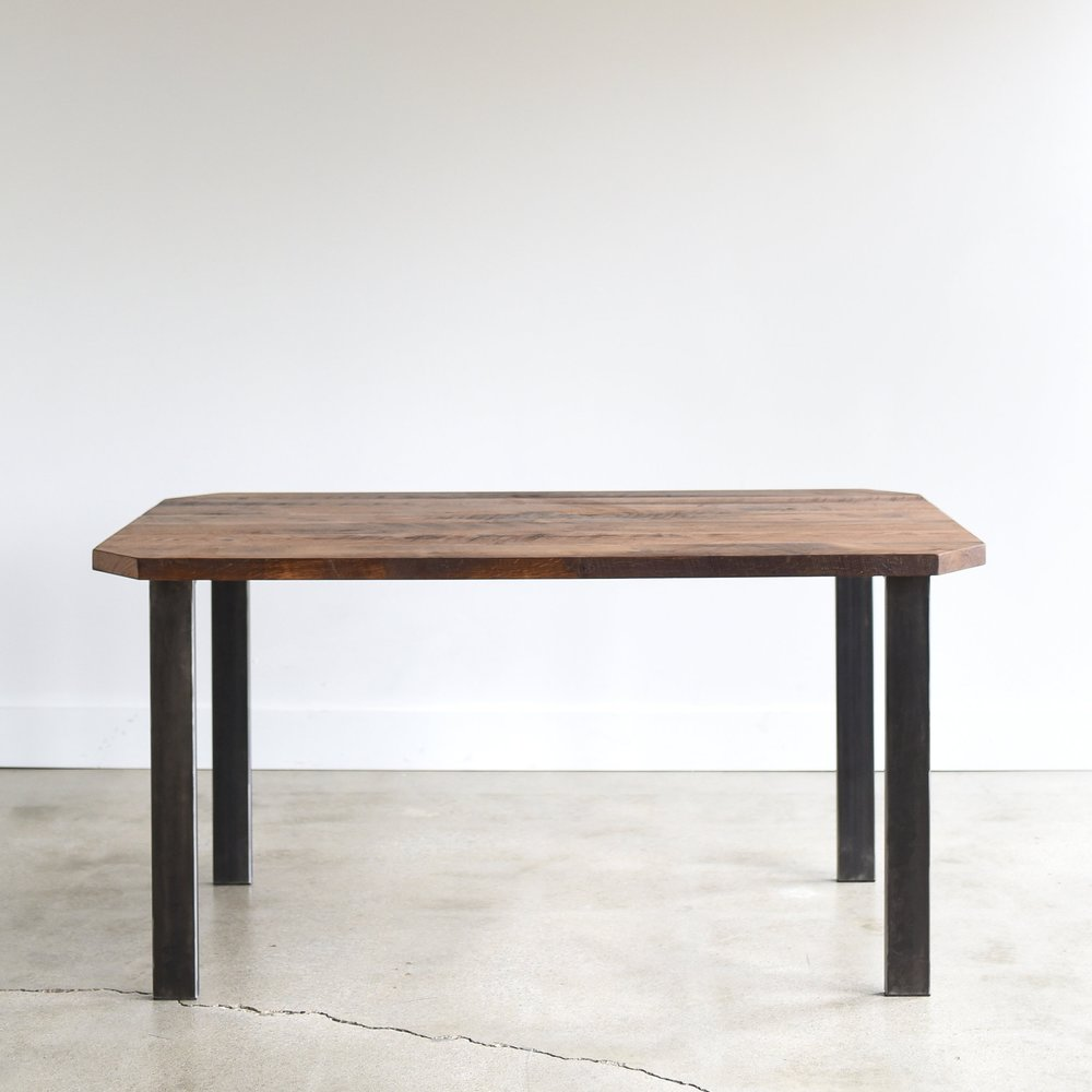 Reclaimed Wood Clipped Corners Dining Table / Metal Post Legs